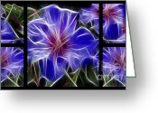 Morph Greeting Cards - Blue Hibiscus Fractal Greeting Card by Peter Piatt