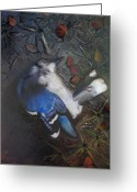 Deathly Greeting Cards - Blue Jay Greeting Card by Cap Pannell