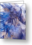 Earring Greeting Cards - Blue Lady Greeting Card by Joan  Jones