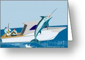Jumping Digital Art Greeting Cards - Blue marlin jumping Greeting Card by Aloysius Patrimonio