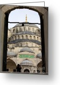 Byzantine Greeting Cards - Blue Mosque Greeting Card by Artur Bogacki