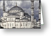 Eastern Turkey Greeting Cards - Blue Mosque Greeting Card by Joan Carroll