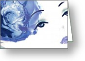 Artography Greeting Cards - Blue Rose Lipstick Girl Greeting Card by Jayne Logan