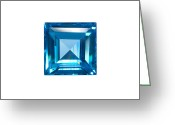 Treasure Jewelry Greeting Cards - Blue Sapphire Isolated Greeting Card by Atiketta Sangasaeng