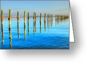 Jensen Beach Greeting Cards - Blue Tide Greeting Card by Debra and Dave Vanderlaan