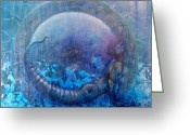 Portal Mixed Media Greeting Cards - Bluestargate Greeting Card by Ashley Kujan