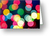 Shine Greeting Cards - Blurred Christmas lights Greeting Card by Elena Elisseeva