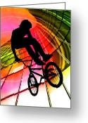 Figures Silhouettes Young Sport Grunge Athletes Greeting Cards - BMX in Lines and Circles Greeting Card by Elaine Plesser