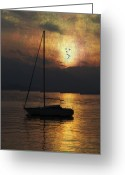 Mountain Texture Greeting Cards - Boat In Sunset Greeting Card by Joana Kruse