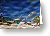 Sea Shore Digital Art Greeting Cards - Boat Reflexion Greeting Card by Stylianos Kleanthous