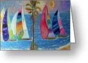 Golden Waves Reliefs Greeting Cards - Boats at sunset Greeting Card by Vicky Tarcau