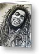 Guitar Pastels Greeting Cards - Bob Marley Greeting Card by Anastasis  Anastasi