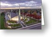 Salt Lake City Temple Photo Greeting Cards - Boise Idaho LDS Temple Greeting Card by SkyBlue Photos - Rusty Hill