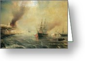 Aflame Greeting Cards - Bombardment of Sale Greeting Card by Jean Antoine Theodore Gudin