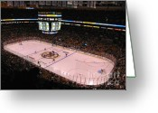 Ice Greeting Cards - Boston Bruins Greeting Card by Juergen Roth