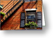 Residential Photo Greeting Cards - Boston house fragment Greeting Card by Elena Elisseeva