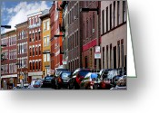 Old Street Greeting Cards - Boston street Greeting Card by Elena Elisseeva