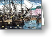 Rebellion Greeting Cards - Boston Tea Party, 1773 Greeting Card by Granger