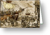 Imported Greeting Cards - Boston Tea Party, 1773 Greeting Card by Photo Researchers
