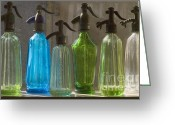 Bottle Cap Glass Art Greeting Cards - Bottle of water Greeting Card by Odon Czintos