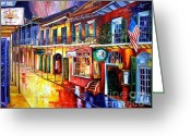 New Orleans Artist Greeting Cards - Bourbon Street Red Greeting Card by Diane Millsap