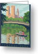 Manhattan Digital Art Greeting Cards - Bow Bridge in Central Park Greeting Card by Mitch Frey