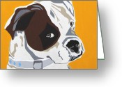 Contemporary Dog Portraits Greeting Cards - Boxer  Greeting Card by Slade Roberts