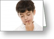 Biting Greeting Cards - Boy Biting His Nails Greeting Card by
