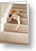 Bannister Tapestries Textiles Greeting Cards - Boy Climbing Stairs Greeting Card by Ian Boddy