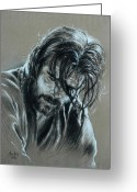 Original Work Of Art Pastels Greeting Cards - Brad Pitt Greeting Card by Anastasis  Anastasi