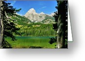 Yellowstone Landscape Art Greeting Cards - Bradley Lake Greeting Card by Greg Norrell