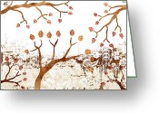 Japan Painting Greeting Cards - Branches Greeting Card by Frank Tschakert
