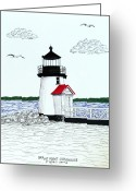 Historic Lighthouse Drawings Greeting Cards - Brant Point Lighthouse Greeting Card by Frederic Kohli