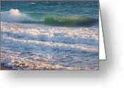 Surf Silhouette Greeting Cards - Breaking Through Greeting Card by E Luiza Picciano