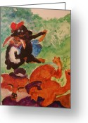 Nursury Greeting Cards - Brer Rabbit done got Caught Greeting Card by Lynn Beazley Blair