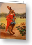 Nursury Greeting Cards - Brer Rabbitt goes Irish Greeting Card by Lynn Beazley Blair