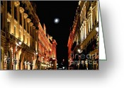 Old Street Greeting Cards - Bright moon in Paris Greeting Card by Elena Elisseeva