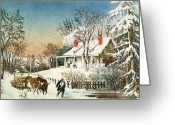 Chill Greeting Cards - Bringing Home the Logs Greeting Card by Currier and Ives