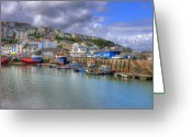 Birthday Cards  Greeting Cards - Brixham Harbour Greeting Card by Mike Lester