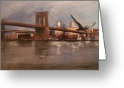Brooklyn Bridge Mixed Media Greeting Cards - Brooklyn Bridge Greeting Card by Anita Burgermeister