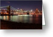 Nightshot Greeting Cards - Brooklyn Bridge Nights Greeting Card by Nina Papiorek