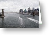 River Pastels Greeting Cards - Brooklyn Bridge  Greeting Card by Stefan Kuhn