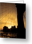 Blue Blocks Greeting Cards - Brooklyn Bridge Greeting Card by Svetlana Sewell