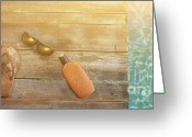 Footwear Greeting Cards - Brown sandels on withered wood  Greeting Card by Sandra Cunningham