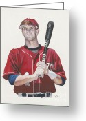 Baseball Artwork Greeting Cards - Bryce and the Fat Chik Greeting Card by Jason Yoder