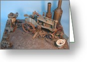 Country Sculpture Greeting Cards - Bubbas Junkyard Greeting Card by Stuart Swartz