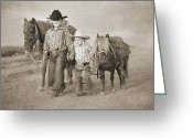 Little Boy Greeting Cards - Buckaroo Friends Greeting Card by Cindy Singleton