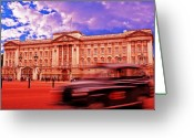 Head Of State Greeting Cards - Buckingham Palace with Black Cab Greeting Card by Chris Smith