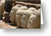 Face Reliefs Greeting Cards - buddha statue in Thailand Greeting Card by Thanawat  Wongsuwannathorn
