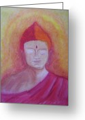 Buddha Pastels Greeting Cards - Buddha Greeting Card by Stella Wilcox